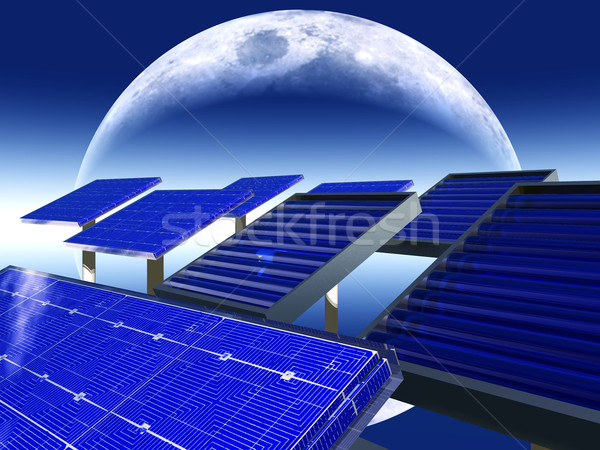 solar panels and moon Stock photo © njaj