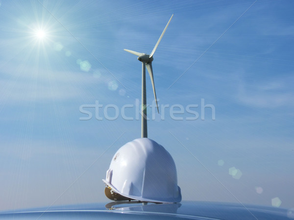 the  wind turbine and the helmet Stock photo © njaj