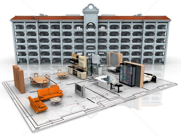inside and plan for a building Stock photo © njaj