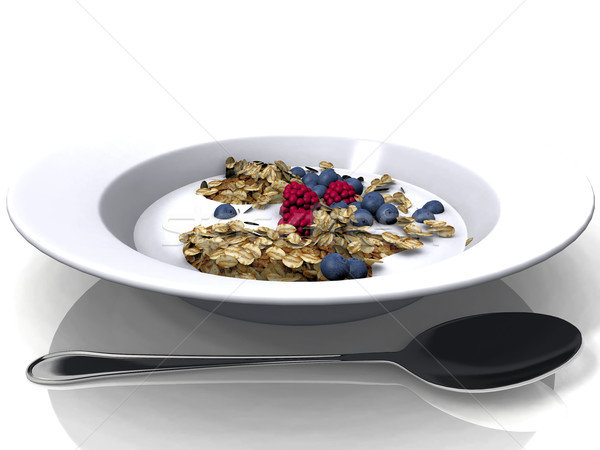cereal  with fruit on white plate Stock photo © njaj