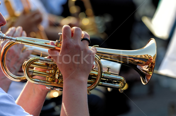 Trompet müzik altın rüzgâr müzisyen performans Stok fotoğraf © njaj