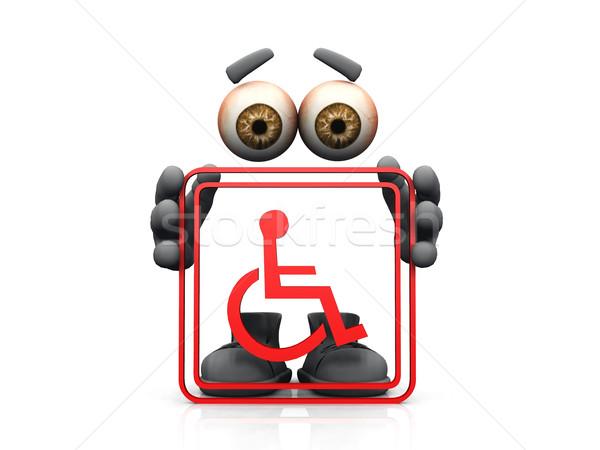 Handicap symbool witte hand man ogen Stockfoto © njaj