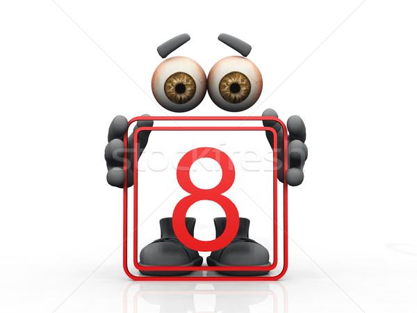 восемь символ белый человека глазах мужчин Сток-фото © njaj