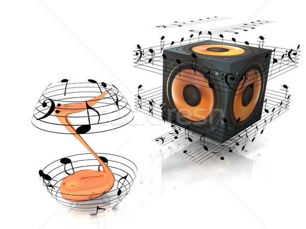 speaker and musical notes Stock photo © njaj