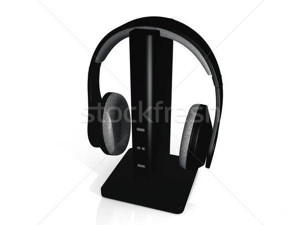 Сток-фото: наушники · белый · связи · звук · гарнитура · слушать