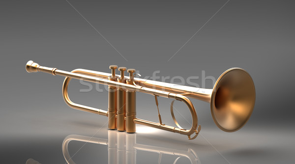 Stock photo: the trumpet on a gray background