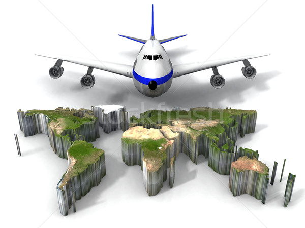 earth map and airplane Stock photo © njaj