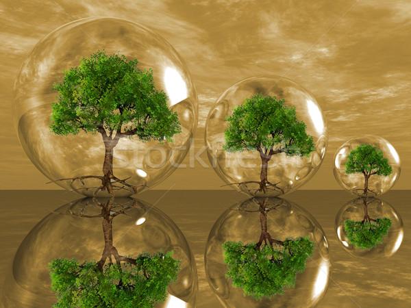 деревья пузырьки зеленый облаке завода безопасности Сток-фото © njaj