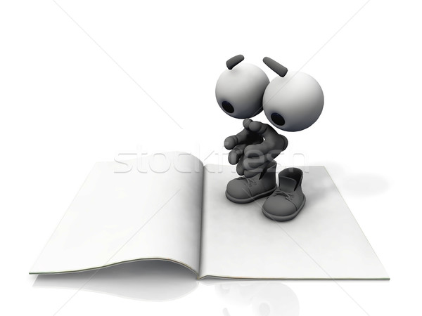 Fehér könyv láthatatlan férfi oktatás tanulás Stock fotó © njaj