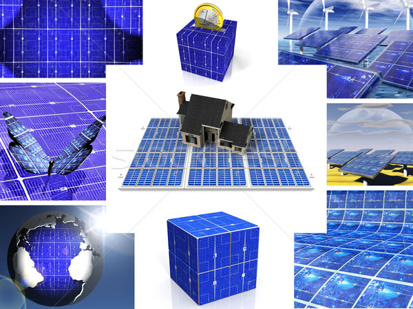 composition of images of solar cell Stock photo © njaj