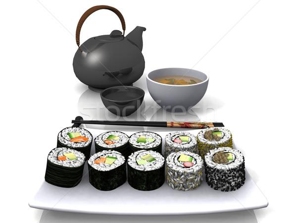 Sushi soya sosu yemek gıda balık mutfak Stok fotoğraf © njaj