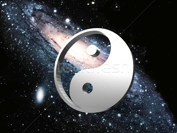 Stock photo: the spiral galaxy and ying yang