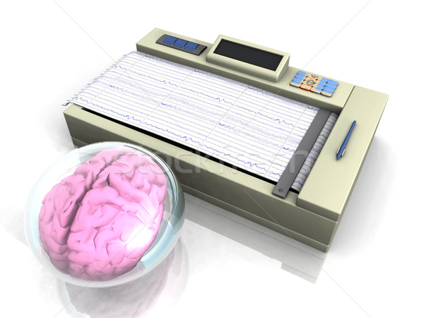 Pink brain in a bubble in front of a medical diagnostic instrument Stock photo © njaj