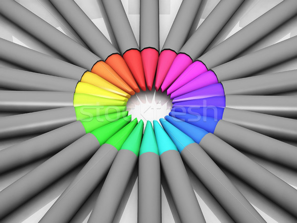 Cirkel gekleurd potloden hout pen verf Stockfoto © njaj