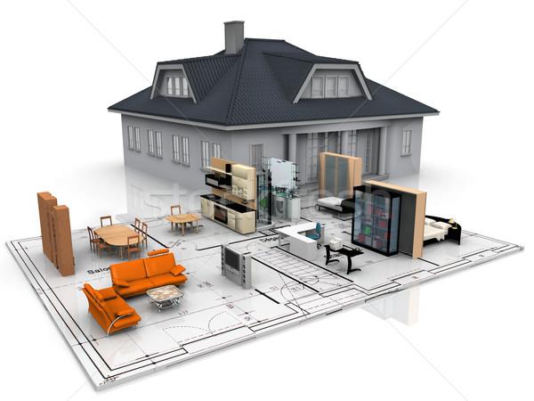 interior and exterior of a house Stock photo © njaj