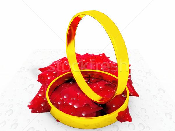Gyűrűk kép rózsa természet szépség arany Stock fotó © njaj