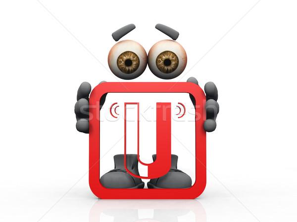 магнитный символ белый стороны человека глазах Сток-фото © njaj