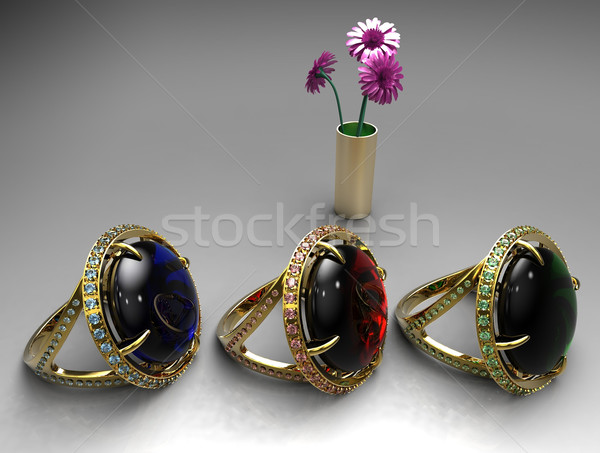 ruby ,emerald and sapphire rings Stock photo © njaj