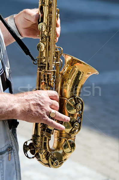 Photo stock: Saxophone · joueur · mains · homme · hommes · sonores