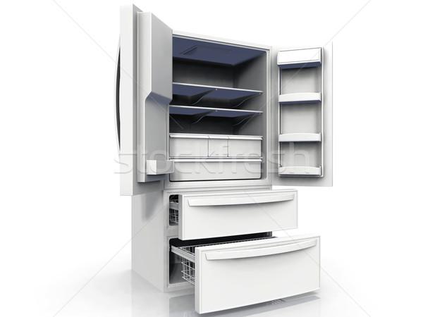 Amerikan buzdolabı beyaz ev kapı modern Stok fotoğraf © njaj