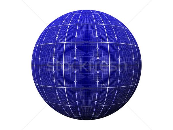Top mavi fotovoltaik ev doğa sanayi Stok fotoğraf © njaj