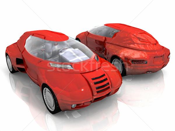 Piros autó elöl hátsó technológia utazás Stock fotó © njaj