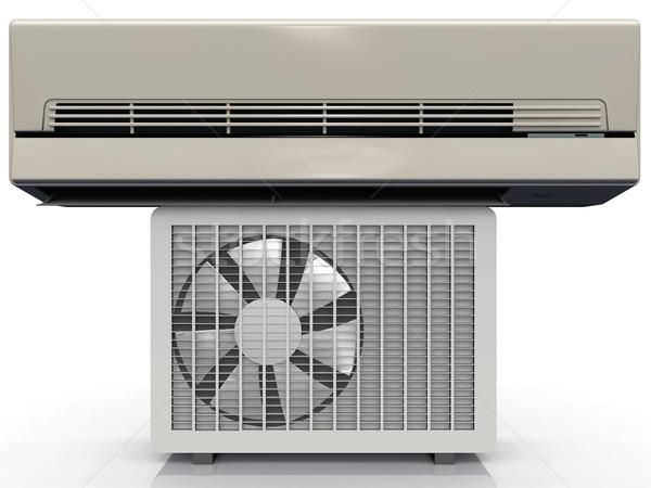 Klimatyzacja jednostka szary domu budynku polu Zdjęcia stock © njaj
