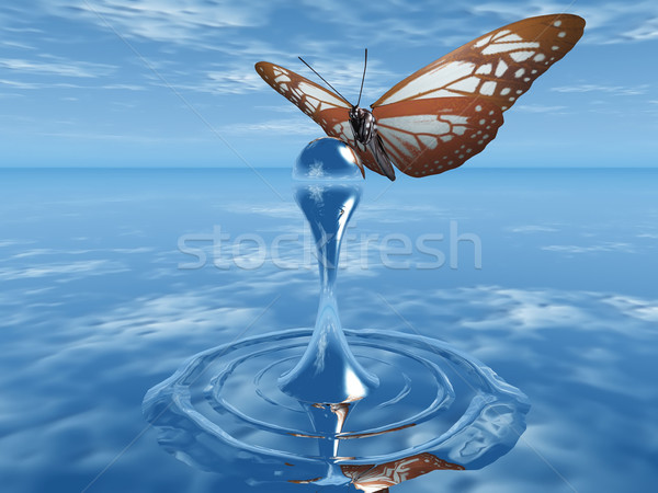 the butterfly and the drop of water Stock photo © njaj