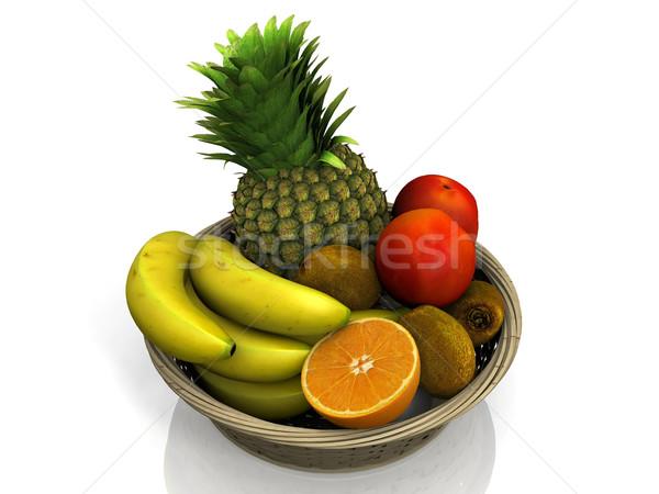фрукты корзины белый продовольствие оранжевый группа Сток-фото © njaj