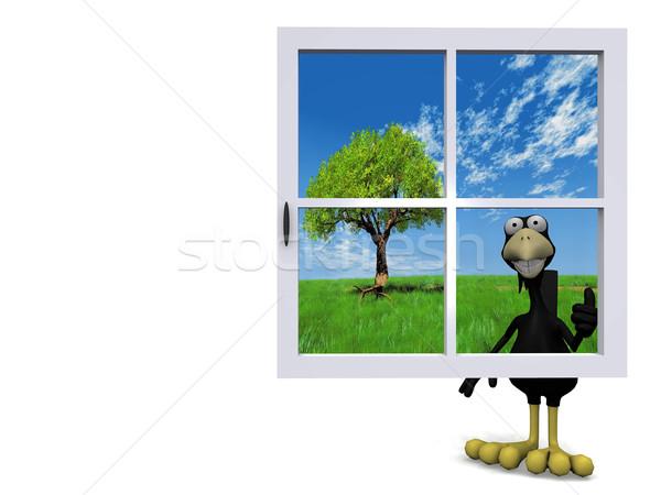 Linii za niebieski okno szczęśliwy moda Zdjęcia stock © njaj