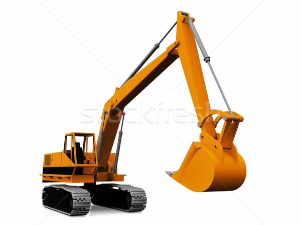 Gépi kotrógép fehér építkezés munka homok Stock fotó © njaj