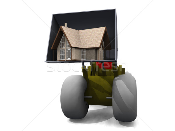 Buldozer casă construcţie muncă industrial tractor Imagine de stoc © njaj