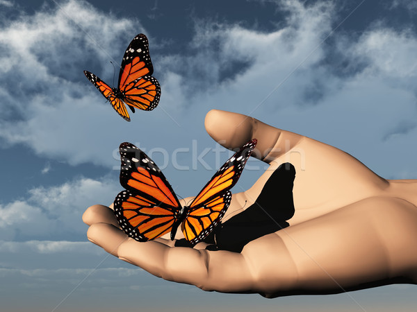 Freiheit Schmetterling Hand Natur Garten Stock foto © njaj