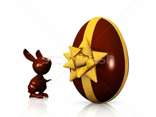 Eastern rabbit and egg Stock photo © njaj