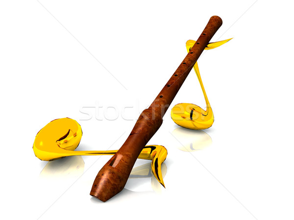 flute  and musical notes Stock photo © njaj