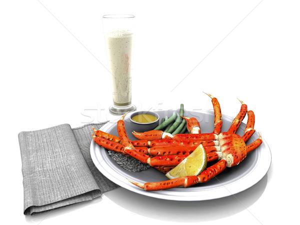 Alaskan crab leg on a plate Stock photo © njaj