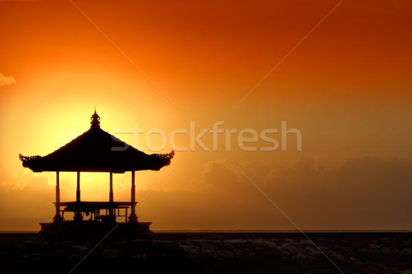 Gün batımı bali plaj güneş doğa deniz Stok fotoğraf © njaj