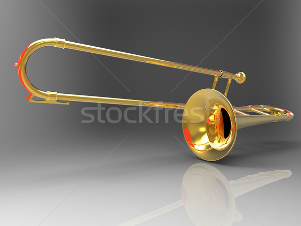 Stock photo: the trombone on a gray background
