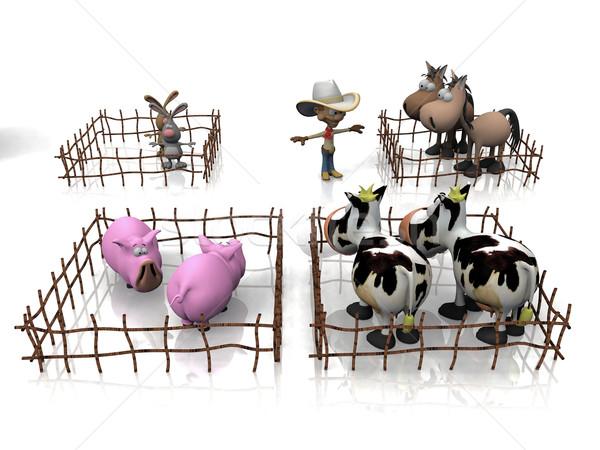 breeding of pigs, cows,  horses and rabbits Stock photo © njaj