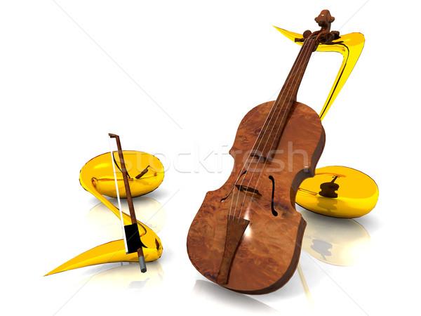 violin and musical notes Stock photo © njaj