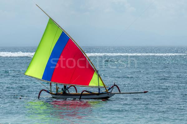 Pescatore barca bali spiaggia pesce sole Foto d'archivio © njaj