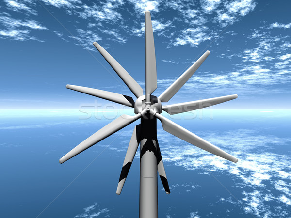 a  multi-bladed wind turbine Stock photo © njaj