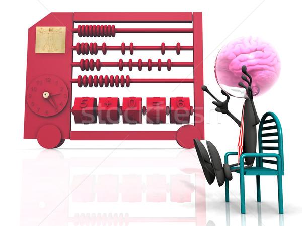 Abakusz óra terv matematika ujjak idegen Stock fotó © njaj