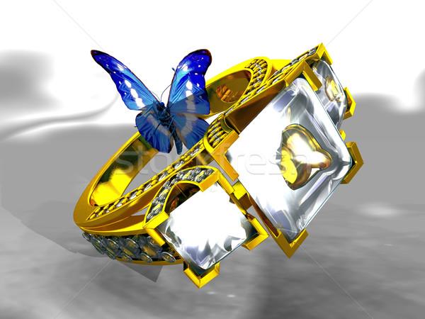 Arany gyémántgyűrű pillangó gyémánt házasság ajándék Stock fotó © njaj