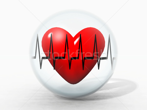 Stock photo: heart in a bubble