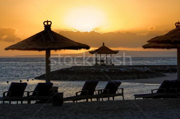 Naplemente Bali tengerpart égbolt víz nap Stock fotó © njaj