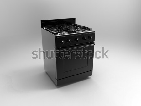 Stock photo: a stove on a gray background