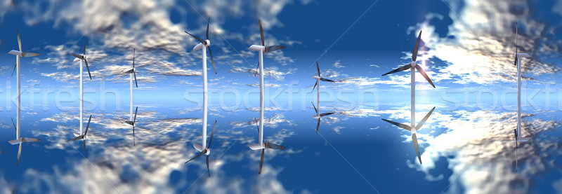 wind turbine on a blue sky Stock photo © njaj