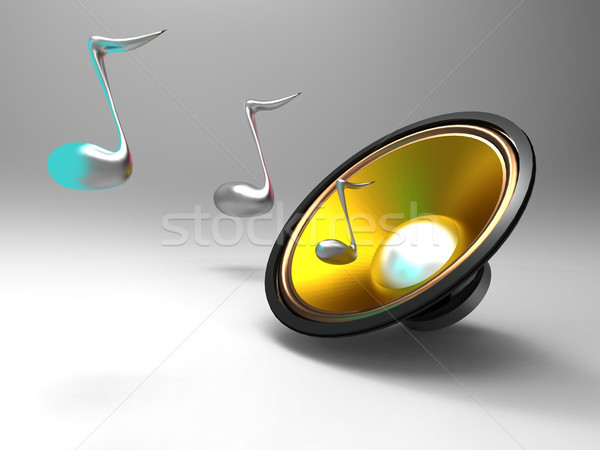 the speaker and music notes Stock photo © njaj