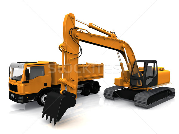 the excavator and truck Stock photo © njaj